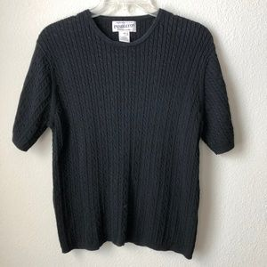 Pendleton Black Cable Knit Short Sleeve Top